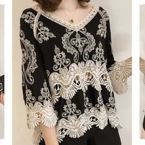 Lace Embroidered V Neck Blouse